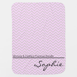 Pink Green Zigzag Personalized Girl Swaddle Blanket