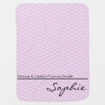 Pink Green Zigzag Personalized Girl Swaddle Blankets