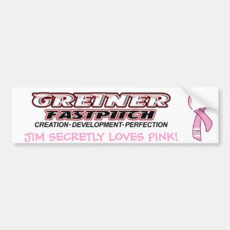 Pink Greiner Fastpitch Bumper Sticker