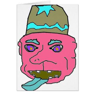Pink Gremlin Head Greeting Cards