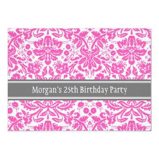 Pink Grey 25th Birthday Party Invitation