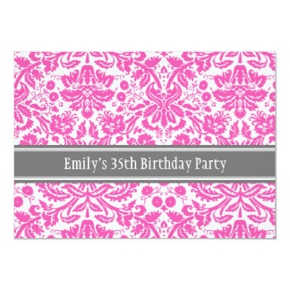 Pink Grey 35th Birthday Party Invitation