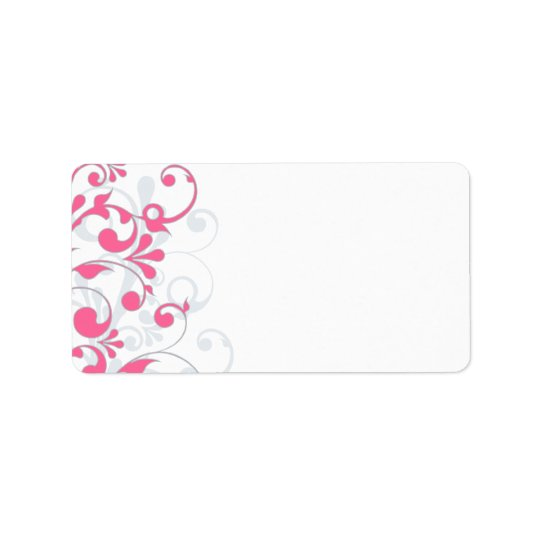 pink grey abstract floral wedding blank address label zazzle com