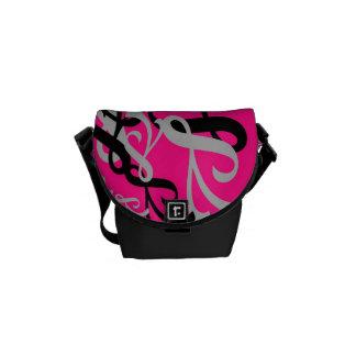 Pink, Grey and Black Shapes - Mini Messenger Bag