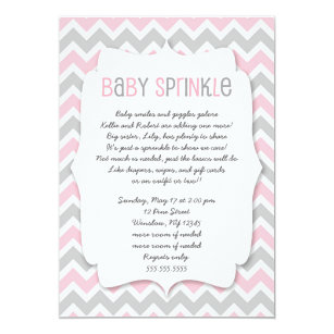Charming Pink Grey Baby Sprinkle / Girl Baby Shower Invite
