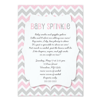 Pink Grey Baby Sprinkle / girl baby shower invite