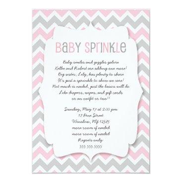 Toddler & Baby themed Pink Grey Baby Sprinkle / girl baby shower invite