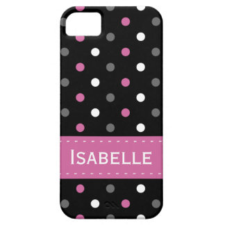 Pink, Grey, Black and White Polka Dot iPhone 5 Cover