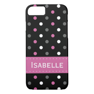 Pink, Grey, Black and White Polka Dot iPhone 7 Case