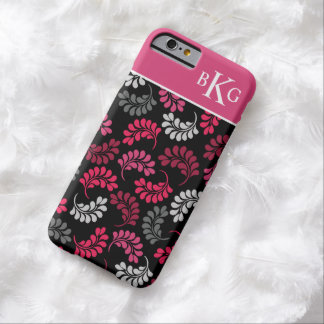 Pink Grey Black Floral Pattern Custom Monogram Barely There iPhone 6 Case