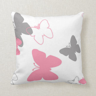 Pink Grey Butterfly Pillow