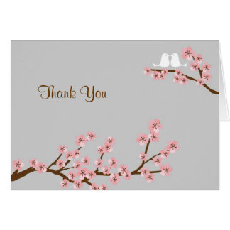 Pink & Grey Cherry Blossom Spring Thank You Card