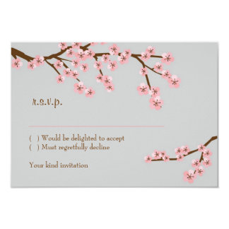 Pink & Grey Cherry Blossom Spring Wedding Card