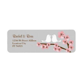 Pink & Grey Cherry Blossom Spring Wedding Label