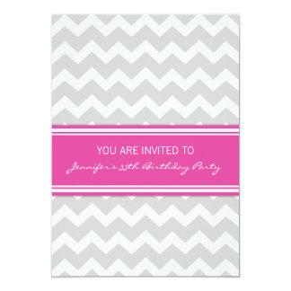 Pink Grey Chevron 35th Birthday Party Invitations