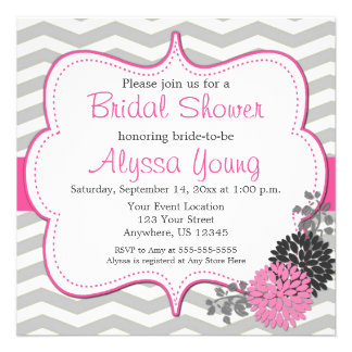 Pink Grey Chevron Bridal or Baby Shower Invite