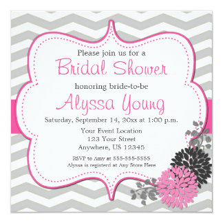Pink Grey Chevron Bridal or Baby Shower Invite