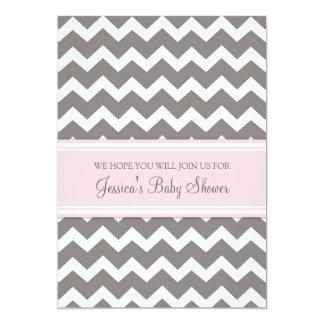 Pink Grey Chevron Custom Baby Shower Invitations