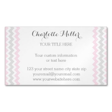 Professional Business Pink Grey Chevron Magnetic Business Card