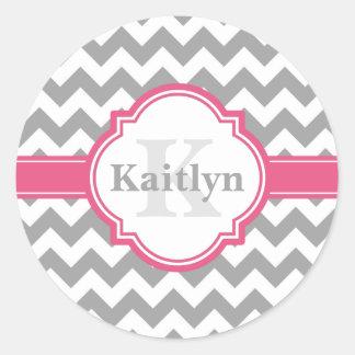 Pink Grey Chevron Pattern & Moroccan Quatrefoil Classic Round Sticker