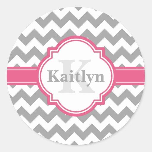 Pink Grey Chevron Pattern & Moroccan Quatrefoil Round Sticker
