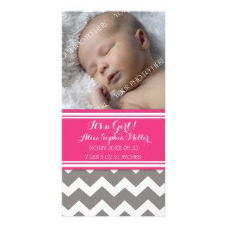 Pink Grey Chevron Photo Baby Birth Announcement