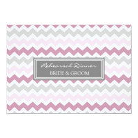 Pink Grey Chevron Rehearsal Dinner Party Card