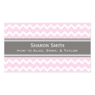 Pink Grey Chevron Retro Mom Calling Cards