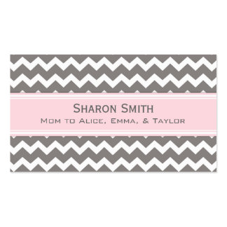 Pink Grey Chevron Retro Mom Calling Cards Double-Sided Standard Business Cards (Pack Of 100)