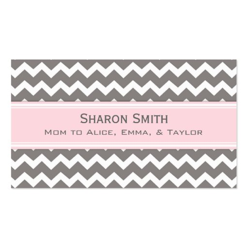 Pink Grey Chevron Retro Mom Calling Cards Business Card