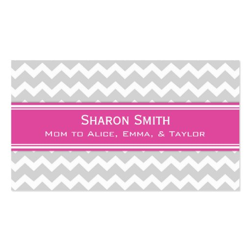 Pink Grey Chevron Retro Mom Calling Cards Business Card Template