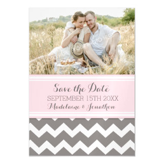 Pink Grey Chevron Save The Date Magnetic Card