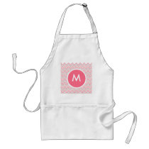Pink Grey Chevron Zigzag Monogram Adult Apron