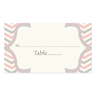 Pink, grey chevron zigzag wedding place card Double-Sided standard business cards (Pack of 100)