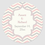 Pink, grey chevron zigzag wedding Save the Date Round Sticker