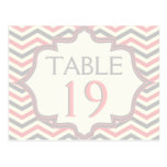 Pink, grey chevron zigzag wedding table number postcard