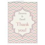 Pink, grey chevron zigzag wedding Thank You photo Card