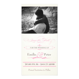 Pink, Grey & Cream Poster Style Save the Date Card