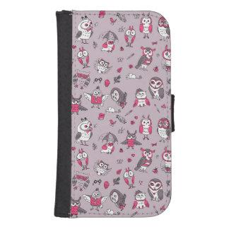Pink grey cute owls pattern galaxy s4 wallet case