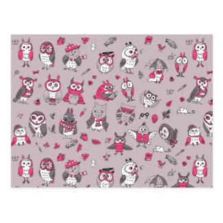 Pink grey cute owls pattern postcard