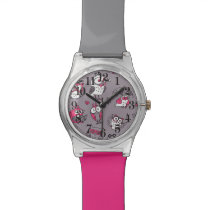 Pink grey cute owls pattern watch