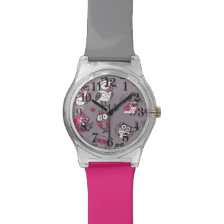 Pink grey cute owls pattern watch