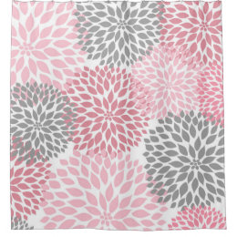 Pink Grey Dahlias / Flowers Floral Blossoms Shower Curtain
