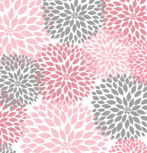 Pink Grey Dahlias Flowers Floral Blossoms Shower Curtain