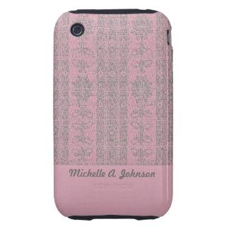pink grey damask pattern tough iPhone 3 case