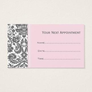 Pink Grey Damask Salon Appointment Cards