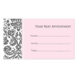 Pink Grey Damask Salon Appointment Cards Double-Sided Standard Business Cards (Pack Of 100)