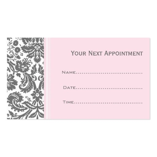 Salon appointment template pink grey damask salon appointment cards double sided standard cheaphphosting Choice Image