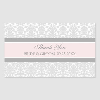 Pink Grey Damask Thank You Wedding Favor Tags