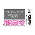 Pink Grey Damask Thank You Wedding Stamps